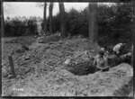 New Zealand troops digging positions for trench mortars, France