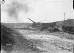 A British 9.2 rail gun in action in Coigneux, France, World War I