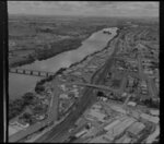Waikato River and Huntly with Huntly Brick in foreground, Waikato District