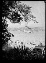 Flying boat, Centaurus, refuelling from launches, Wellington Harbour