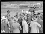 Captain and crew of the flying boat, Centaurus, being welcomed ashore, Wellington