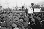 Kaye, George, 1914- : Bernard Cyril Freyberg at a conference of NZ Division officers, outlines the plan for the crossing of the Senio River and subsequent  operations, Senio River area, Italy