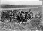 A New Zealand 18 pound gun in action at Beaussart, France, during World War I