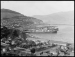 Lyttelton wharves, Canterbury, showing harbour, ships, houses and buildings