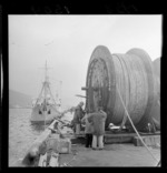 Reel of Cook Strait cable before it is loaded on to the ship Matai