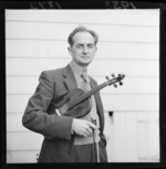 Mr Vincent Aspey, MBE, with his violin