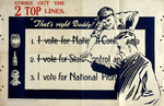 """[New Zealand Alliance for the Abolition of the Liquor Traffic] :Strike out the 2 top lines. """"That's right, Daddy!"""" I vote for National Proh[ibition]. Auckland, Wright & Jaques Ltd., Printers, [1925]."""