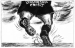 Garland, Nicholas, 1935-   :Leadership crisis. [Cartoon inspired by Jonah Lomu in World Cup All Black v. Lions in South Africa and the leadership crisis for British Prime Minister, John Major].  [Published in the] Daily Telegraph [London], Tues 20 June 1995.