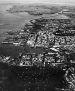 Aerial view of Auckland City's waterfront