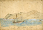 """[Heaphy, Charles]  1820-1881 :The """"Cuba"""" at anchor, in a N.W. breeze, at Port Nicholson heads, 1840, an original drawing by Chas Heaphy, then draughtsman to N.Z.Company [1839]"""