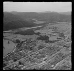 The suburb of Heretaunga with Heretaunga Railway Station and Fergusson Drive, looking to Trentham Park and the Hutt River, Upper Hutt, Wellington Region