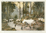 Artist unknown :Camp life in the New Zealand bush; a scene on the route of the North Island main trunk railway at the Hapuawhenua viaduct, near Ohakune.  [Auckland]  Auckland Weekly News, special Christmas supplement, 1908.