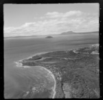 View of Maraetai Bay and the settlement of Oruatua with the Tauranga Taupo River to Motutaiko Island beyond, on eastern side of Lake Taupo