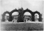 Decorated arches in front of Grand Hotel, Rotorua