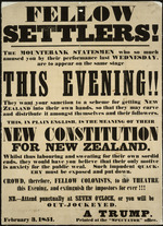 Fellow settlers! the mountebank statesmen who so much amused you... their new constitution for New Zealand.  [Poster].  February 3, 1851.