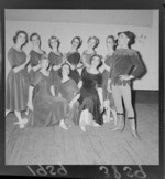 Group portrait of female ballet dancers in the 'Vagabond King', State Opera House, Wellington City