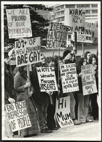 Gay Liberation Movement demonstrating, Parliament grounds, Wellington, New Zealand