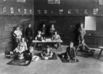 Boys and girls in a classroom at Eastern Hutt School, Lower Hutt