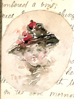 Hodgkins, Frances Mary, 1869-1947 :[Head of a woman wearing a hat. ca 1890]