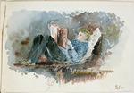 Hodgkins, Isabel Jane, 1867-1950 :[Boy reading. 188-]