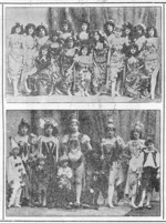 Photographer unknown :[Two group photographs of members of Pollard's Opera Company in costume. 1899].