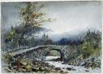 Hodgkins, Isabel Jane, 1867-1950 :Art Club Sketch. [Stone bridge, mountains] 1887.