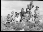 Edgar and Alice Williams with a group of school children on a mountain, location unknown