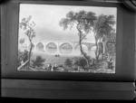 Copy photograph of a print showing a river scene including a large stone bridge and people in boats, by an unidentified artist, taken during Williams' European trip