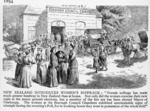 Photograph of an engraving showing women at the Onehunga local body elections of 1893