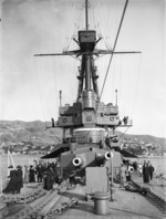 The battlecruiser HMS New Zealand in Wellington Harbour
