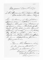 1 page written 1 Dec 1871 by Benjamin Peyman in Wanganui to Sir Donald McLean, from Inward letters - Surnames, Pet - Pic