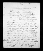 1 page written 6 Dec 1872 by Henry Tacy Kemp in Auckland City to Sir Donald McLean in Napier City, from Native Minister - Inward telegrams