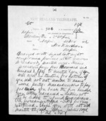 1 page written 21 Nov 1872 by Sir Julius Vogel in Wellington to Sir Donald McLean in Napier City, from Native Minister - Inward telegrams
