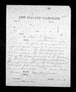 2 pages written by James Mackay to Sir Donald McLean in Tauranga, from Native Minister - Inward telegrams