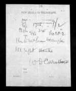 1 page to Sir Donald McLean in Wellington, from Native Minister - Inward telegrams
