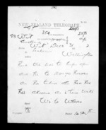 1 page written 31 Dec 1872 by an unknown author in Auckland City to Sir Donald McLean in Wellington, from Native Minister - Inward telegrams