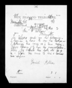 1 page written 26 Dec 1872 by Dr Daniel Pollen in Auckland City to Sir Donald McLean in Wellington, from Native Minister - Inward telegrams