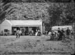 Powhiri (official welcoming ceremony) for Sir William Jervois, Lady Jervois, and party, at Kawhia, by chiefs of Ngati Hikairo, and Tetahi Rahi and Tiki Taimona