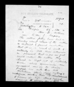 2 pages written 26 Nov 1872 by Thomas William Lewis in Wellington City to Sir Donald McLean in Napier City, from Native Minister - Inward telegrams