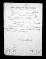 1 page written by an unknown author in Rangitikei District to Sir Donald McLean in Wellington, from Native Minister - Inward telegrams
