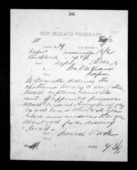 1 page written 5 Dec 1872 by an unknown author in Auckland Region to Sir Donald McLean in Napier City, from Native Minister - Inward telegrams