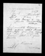 1 page written 4 Nov 1872 by John Gibson Kinross to Sir Donald McLean in Wellington, from Native Minister - Inward telegrams