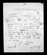 1 page written 5 Dec 1872 by George Augustus Preece to Sir Donald McLean in Napier City, from Native Minister - Inward telegrams