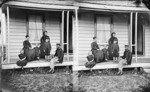 Gerald Butler Beere and family on veranda of house in Shortland