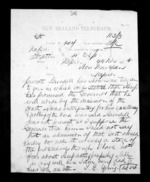 1 page written 22 Nov 1872 by Thomas Edward Young to Sir Donald McLean in Napier City, from Native Minister - Inward telegrams