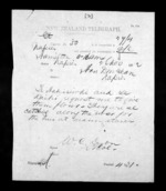 1 page written 26 Nov 1872 by Colonel William Charles Lyon in Hamilton City to Sir Donald McLean in Napier City, from Native Minister - Inward telegrams