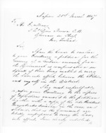 2 pages written 21 Mar 1857 by John Davis Canning in Napier City to Sir Thomas Robert Gore Browne in New Zealand, from Secretary, Native Department -  Administration of native affairs