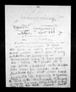 2 pages written 26 Nov 1872 by Henry Tacy Clarke in Tauranga to Sir Donald McLean in Napier City, from Native Minister - Inward telegrams