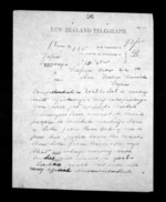 2 pages written 22 Nov 1872 by Henry Tacy Clarke in Tauranga to Sir Donald McLean in Napier City, from Native Minister - Inward telegrams