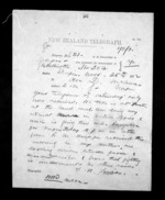 1 page written 25 Nov 1872 by Thomas William Lewis in Wellington to Sir Donald McLean in Napier City, from Native Minister - Inward telegrams